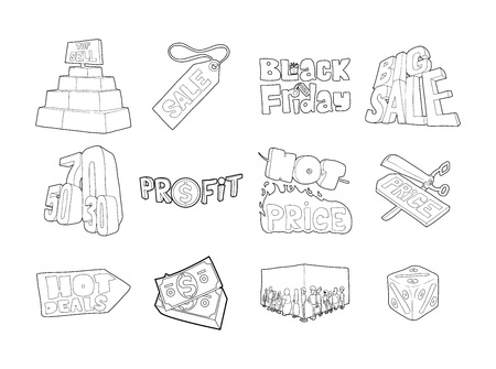 Sale icon set. Outline set of sale vector icons for web design isolated on white background