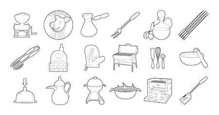 Kitchen tools icon set, outline style. Illustration