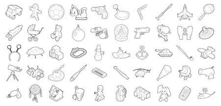 Toys icon set, outline style.  イラスト・ベクター素材