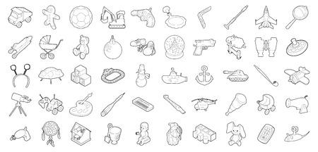 Toys icon set, outline style. Illustration
