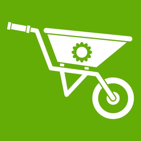 Wheelbarrow icon white isolated on green background. Vector illustration.