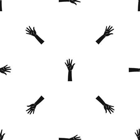 Hand pattern seamless black.