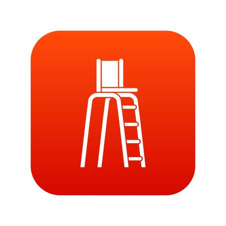 Tennis tower for judges icon digital red for any design isolated on white vector illustration Çizim