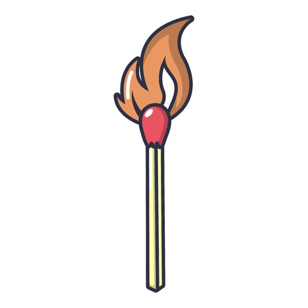 Burning match icon. Cartoon illustration of burning match vector icon for web