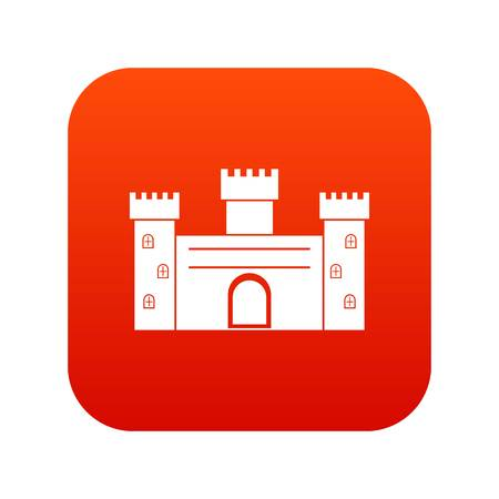 Medieval fortification icon digital red for any design isolated on white vector illustration Illustration