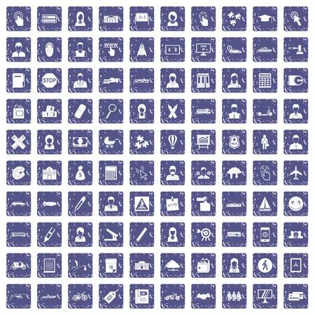 100 initiation icons set grunge sapphire illustration.