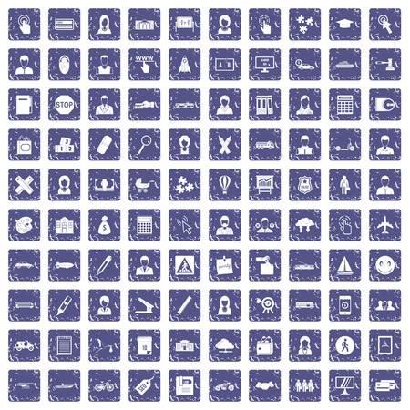100 initiation icons set grunge sapphire illustration.