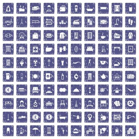 100 inn icons set grunge sapphire illustration.