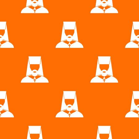 Orthodox priest seamless pattern on orange background.