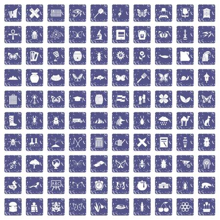 Insects icons set grunge sapphire