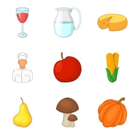 Conjunto de ícones de produto leve, estilo cartoon