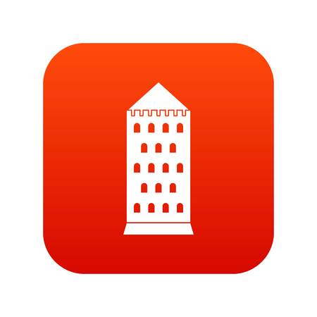 Ancient building icon digital red
