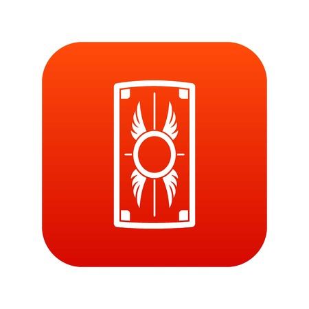 Shield with ornament icon digital red.