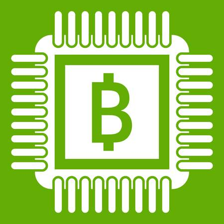 Chip icon on green background illustration.
