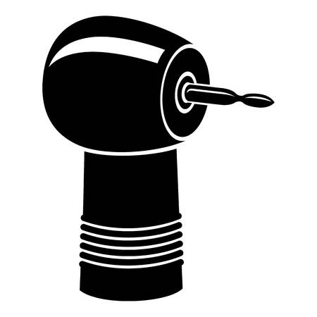 Dental drill icon, simple black style illustration.