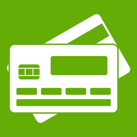 Credit card icon on green background illustration.