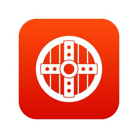 Round protective shield icon digital red.