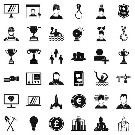 Company icons set, simple style Illustration
