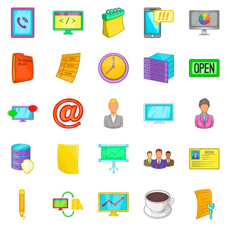 Business department icons set, cartoon style.