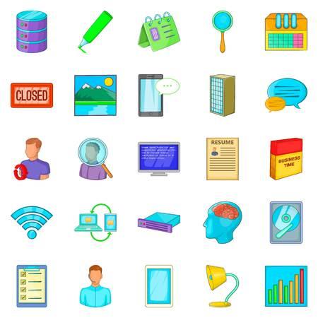 Desk icons set, cartoon style