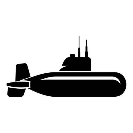 Military submarine icon, simple style.