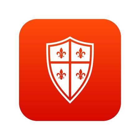 Royal shield icon digital red