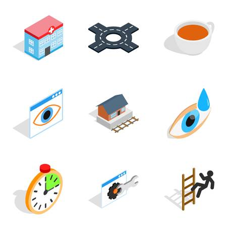 Physiotherapist icons set, isometric style