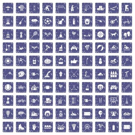 100 kids activity icons set grunge sapphire