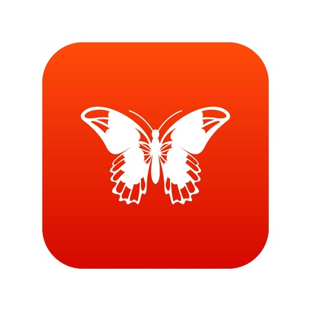 Admiral butterfly icon digital red.