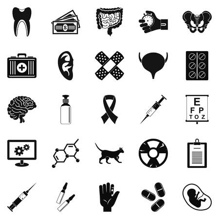 Diagnosis of body icons set, simple style