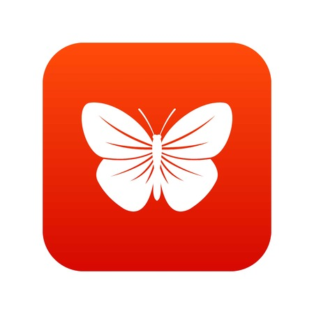 Black butterfly icon digital red Illustration