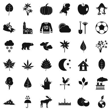 Leaf icons set, simple style