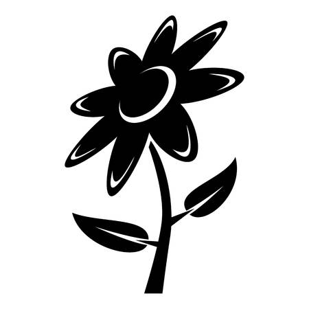 Flower icon, simple black style