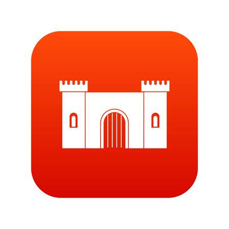 Fortress with gate icon digital red for any design isolated on white vector illustration