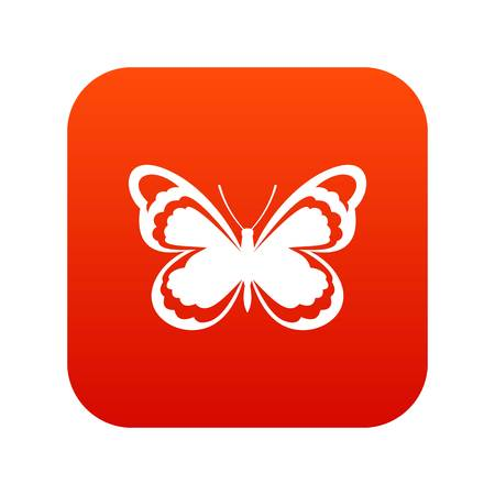 Small butterfly icon digital red illustration on white background.