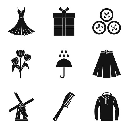 Dressing icons set, simple style illustration.