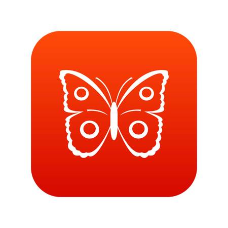 Butterfly icon digital red illustration on white background. Illustration