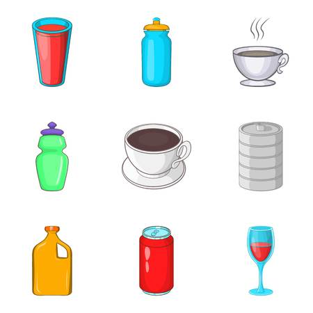 Sip icons set. Cartoon set of 9 sip vector icons for web isolated on white background