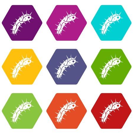 Virus icon set color hexahedron