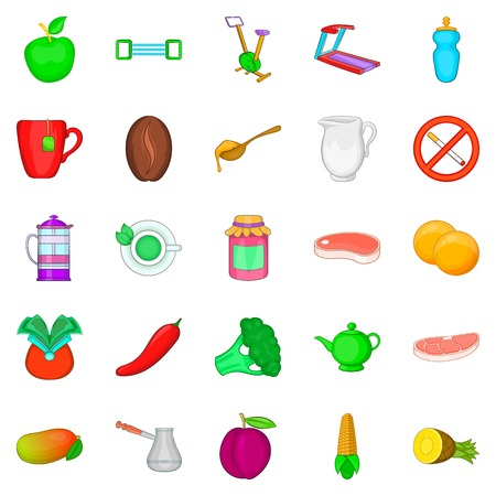 Set of low calorie concept food icons.