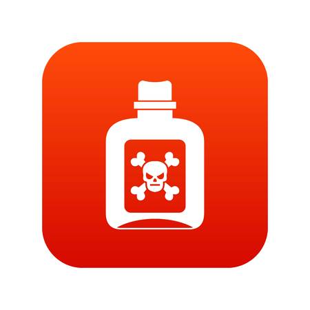 Poison icon digital red illustration on white background. Illustration