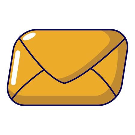 Mail icon, cartoon style illustration on white background.