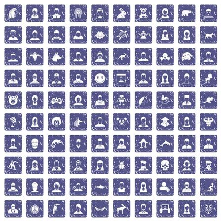 100 avatar icons set in grunge style sapphire color isolated on white background, vector illustration