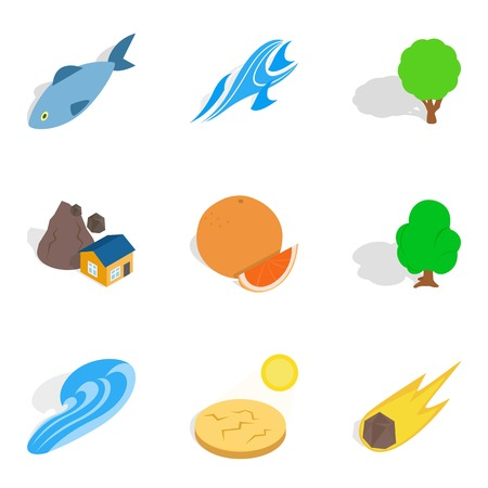 Onshore icons set. Isometric set of 9 onshore vector icons for web isolated on white background