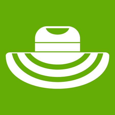 Women beach hat icon white isolated on green background. Vector illustration