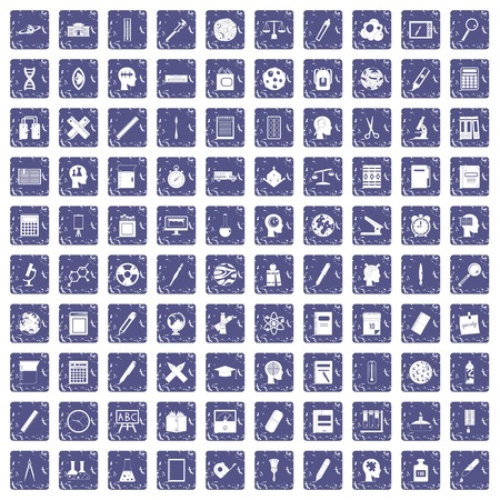 100 learning icons set grunge sapphire illustration. Vectores