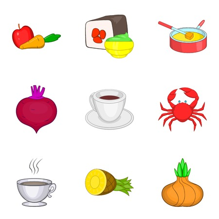 Some food icons set. Cartoon set of 9 some food vector icons for web isolated on white background Иллюстрация