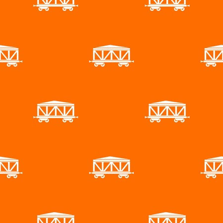 Train cargo wagon pattern repeat seamless in orange color for any design. Vector geometric illustration