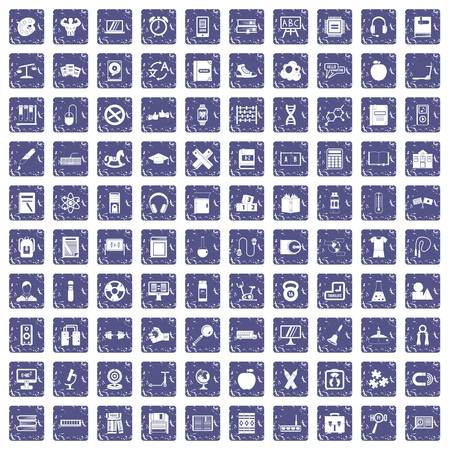 100 learning kids icons set in grunge style sapphire color isolated on white background vector illustration.
