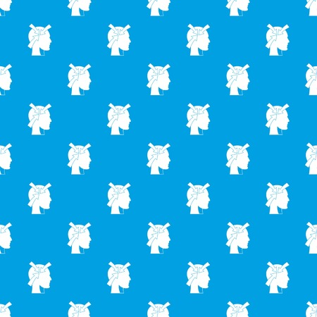 Head with arrows pattern repeat seamless in blue color for any design.
